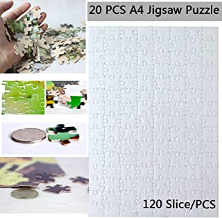 20 Sets Blank Sublimation A4 Jigsaw Puzzle with 120 Pieces DIY Heat Press Transfer Crafts A4 Thermal Transfer Puzzle Wholesale DIY Thermal Transfer Pearl Puzzle Blank Puzzle Thermal Transfer Supplies