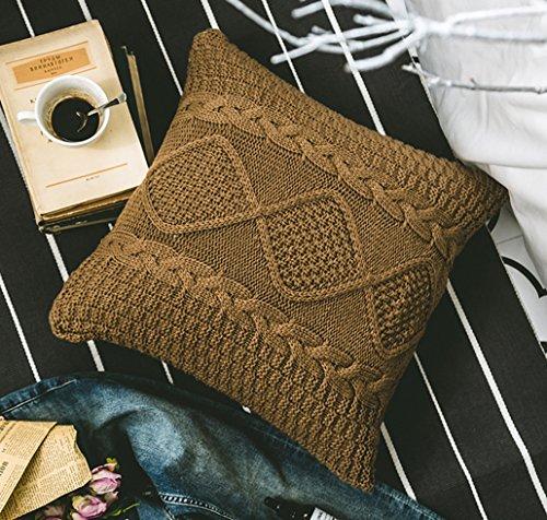 anduuni decorativo algodón de punto funda de almohada Funda de cojín double-cable tejer patrones cálida manta fundas de almohada
