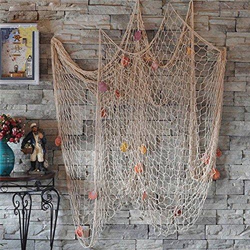 Youbedo Nautical Fish Net With Shells Decoration Retro Photography Props Creamy White Mediterranean Style Fish Net Decor 79 x 59inch