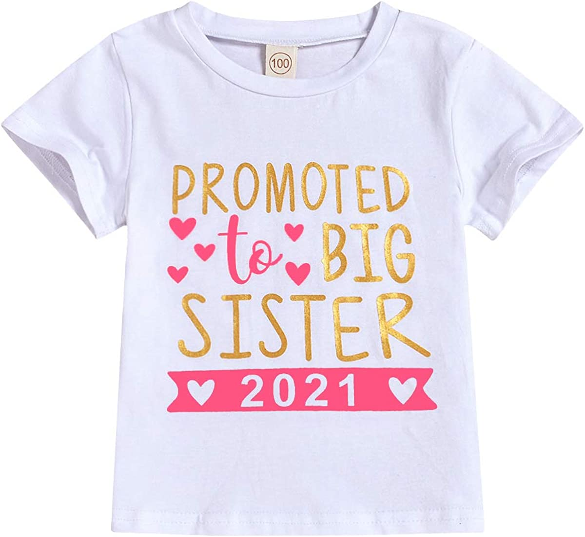 2021 Baby Girl Clothes Outfit Big Sister Letter Print T-Shirt Top Blouse Shirts Birth Announcement Clothes