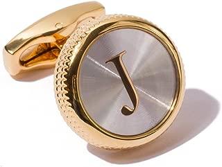 HJ Men's 2PCS Fashion Dazzle Tuxedo Shirts Platinum Plated Cufflinks Initial Letter 2 Color A-Z