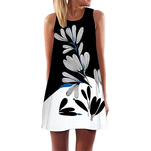 8866b7eaab1 Women Plus Size Dress Vintage Boho Summer Sleeveless Holiday Beach Printed Short  Mini Dress