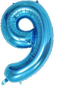 Ruimeier Number 9 Balloon (40 inch) Blue Digital Party Balloons Aluminum Mylar Balloon for Birthday Decorations Wedding Anniversary Baby Bridal Shower BA09BL