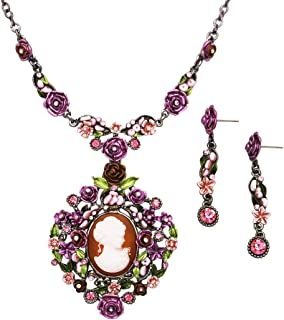 Rosemarie Collections Women's Beautiful Statement Cameo and Flower Necklace and Earrings Gift Set