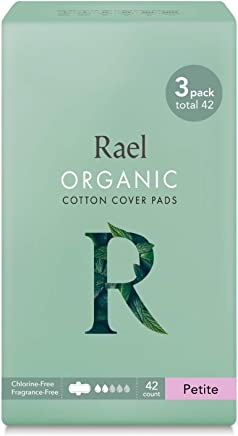 Organic Cotton Menstrual Pads - Petite Size, Ultra Thin & Light Natural Sanitary Napkins with Wings (42 Total), Pack of 3