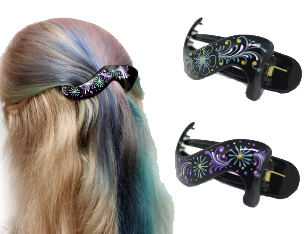 Hair Barrette Hand painted Clips. Excellence Ranking TOP12 Women and Gir Styling for