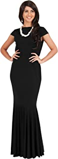 Womens Long Cap Sleeve Elegant Formal Sexy Evening Cocktail Maxi Dress