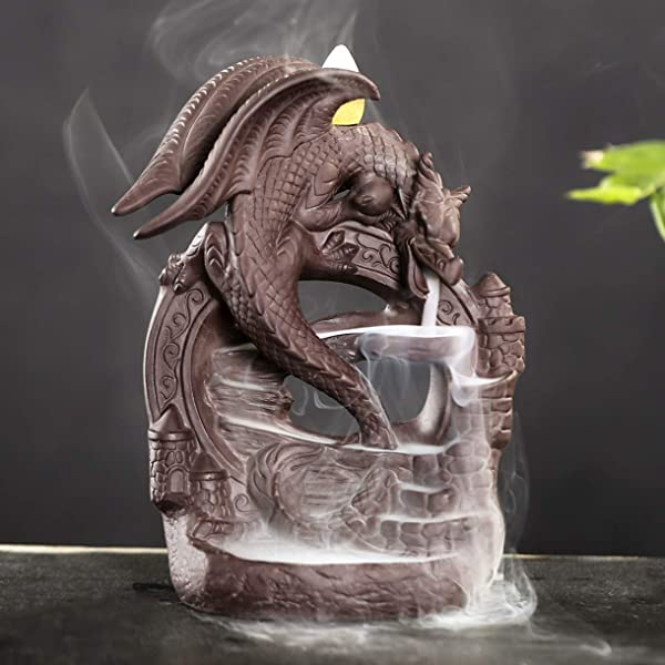 OTOFY Backflow Fountain Waterfall Ceramic Incense Holders Backflow Incense Burner Figurine Incense Cone Holders Home Decor Gift Decorations Statue Ornaments Fly Dragon