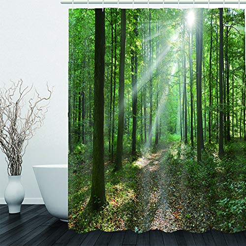 AIMEEGYIN Woodland Shower Curtain, Spring Forest Scene at Sunrise Scenic Morning Nature Scenery, Waterproof Polyester Cloth Fabric Bathroom Decor Set with Hooks 72x72 Inches Green Black