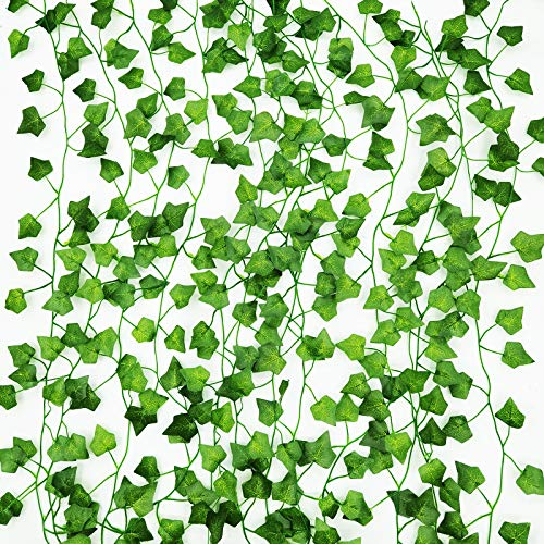 Artificial Ivy Garland 12 Pack Fake Ivy UV Resistant Fake Vine Green Leaves Fake Plants for Home Kitchen Wedding Party Garden Wall Decoration(210cm/7ft per Fack Ivy)