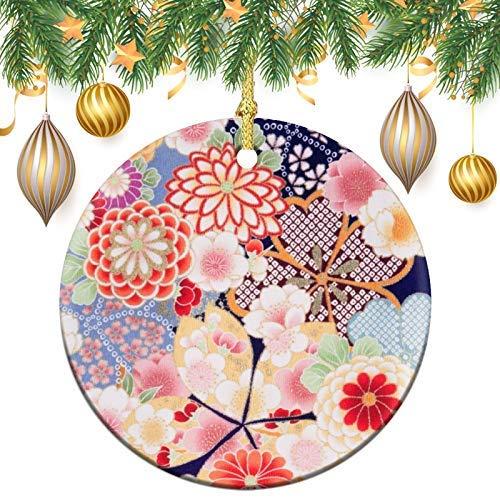 Kimono giapponese fiore tessile albero di Natale, ornamento rotondo in ceramica, ornamento per albero di Natale, decorazioni per albero di Natale, palline di Natale pendenti