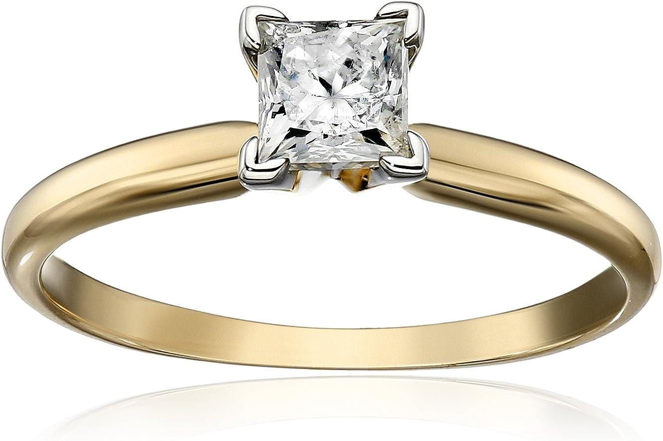1/2 Carat Diamond, Prong-set, 14k Yellow Gold Princess-cut Diamond Solitaire Diamond Engagement Ring (H-I, I3) by La4ve Diamonds | Real Diamond Rings For Women | Gift Box Included