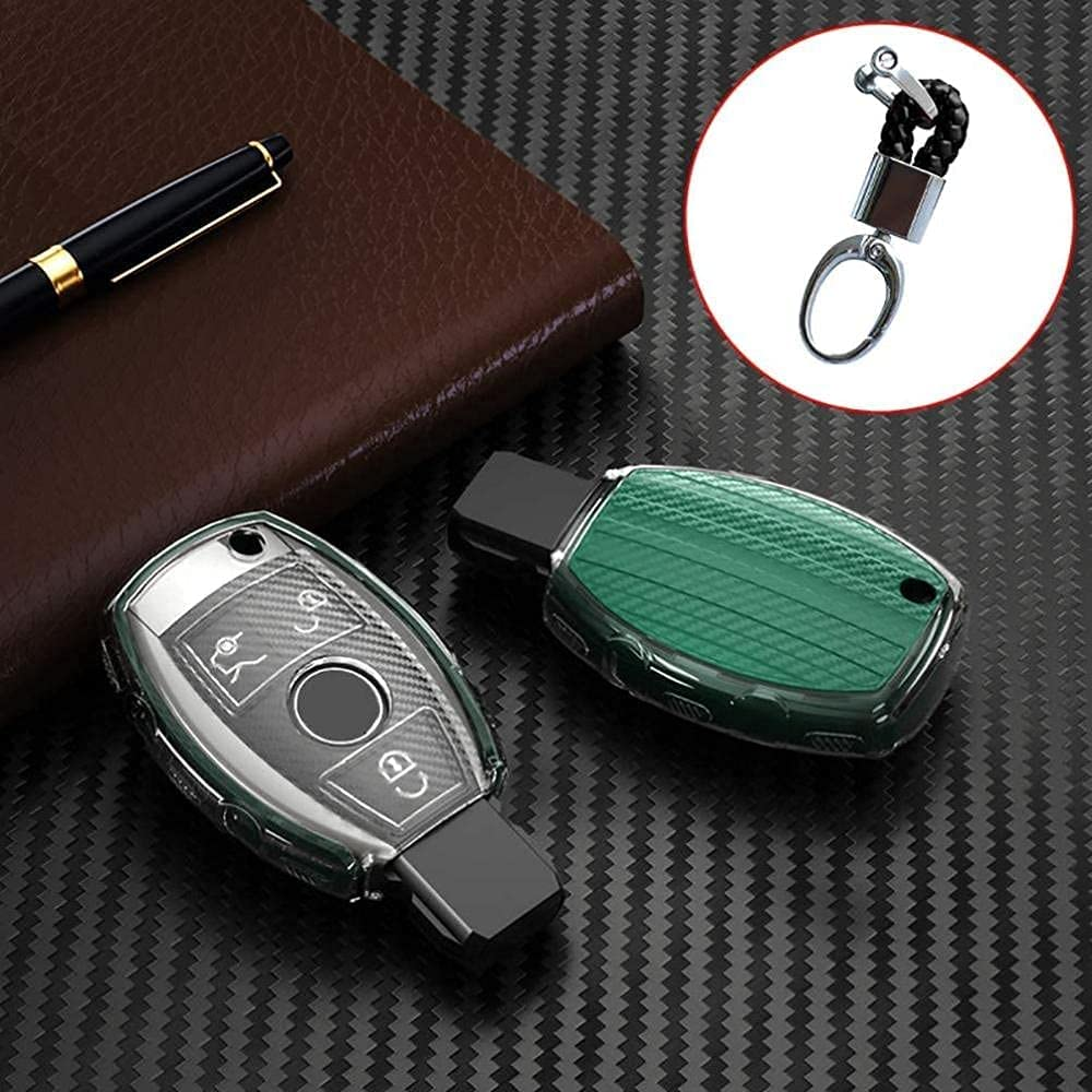 Key Fob Cover with Keychain fit Branded goods Pattern,for OFFicial Merce Carbon Fiber