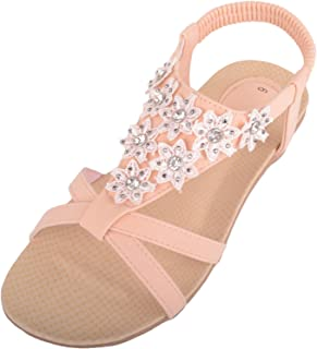 ABSOLUTE FOOTWEAR Women Floral Diamante Design Summer/Holiday Sling Back Sandals/Shoes