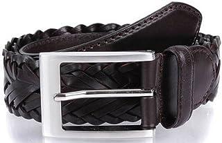 Dents Mens Plaited Strap Leather Belt - Brown