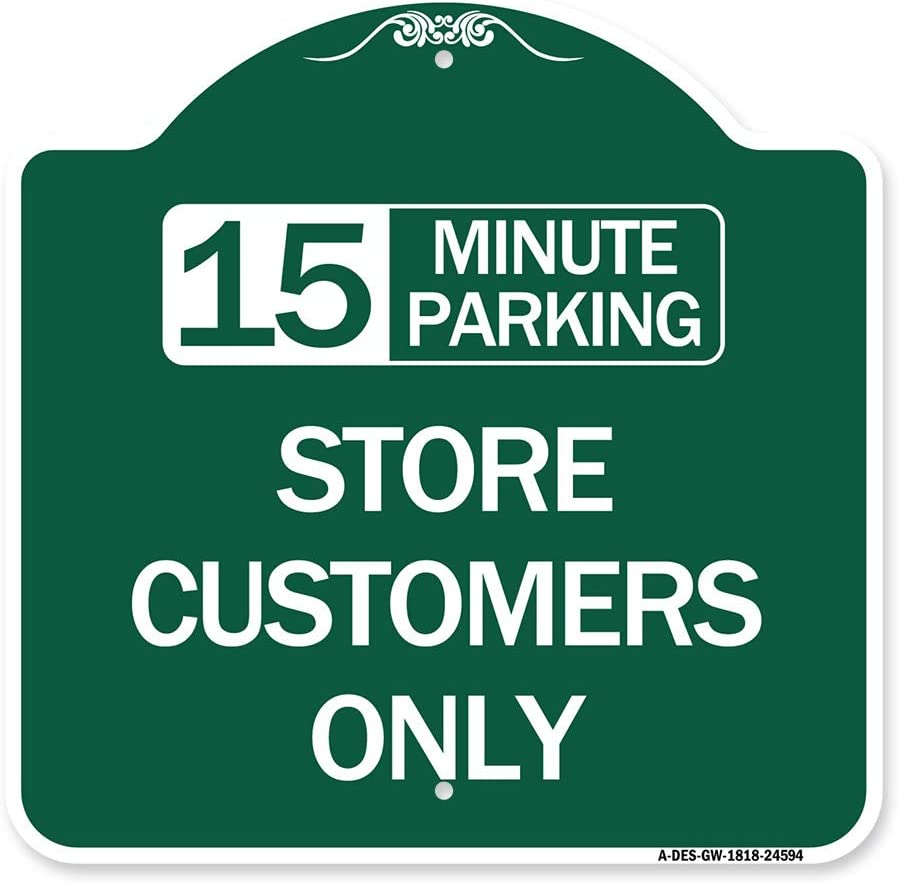 SignMission Max 85% OFF Designer Series Sign - Parking Cu unisex Store 15 Minutes