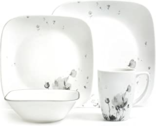 Corelle 3926 Fleurs Du Soir Dinner Set, Black/Grey