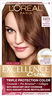 L'Oreal Excellence Creme Triple Protection Hair Color, Light Reddish Brown (Warmer) [6RB] 1 Each (Pack of 6)
