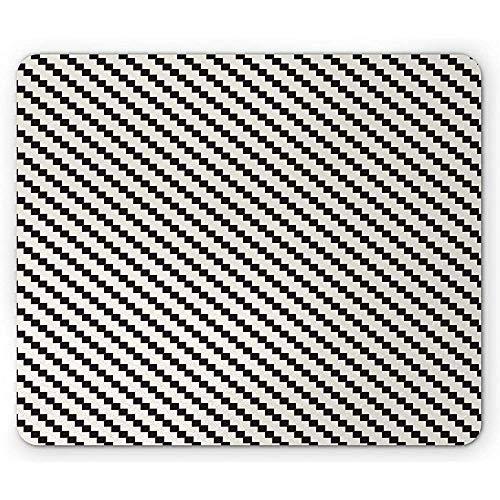 Moderne muismat, Diagonale tegel Zoals Vierkante Ornamenten Geometrische vormen, Rechthoek Antislip Rubber Mousepad, EggshellGrey