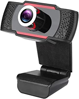 USB2.0 Webcam, Camera, for Online Learning Voice Conference for Video Call Remote Meetong(Black+red)