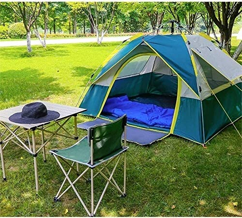 Perfect tent Tent Camping Hiking Outdoor Tent Single-layer Waterproof Three Windows Pop Up Automatically Ventilated Beach Tourism (Color : Brown, Size : Larger)