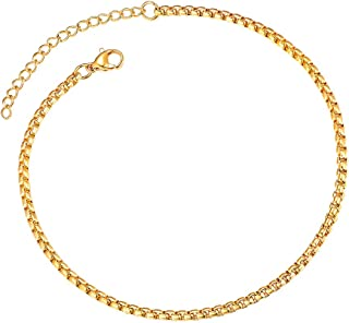 Gold Anklet Bracelet Beach Foot Jewelry Chains for Women 3mm 9inch