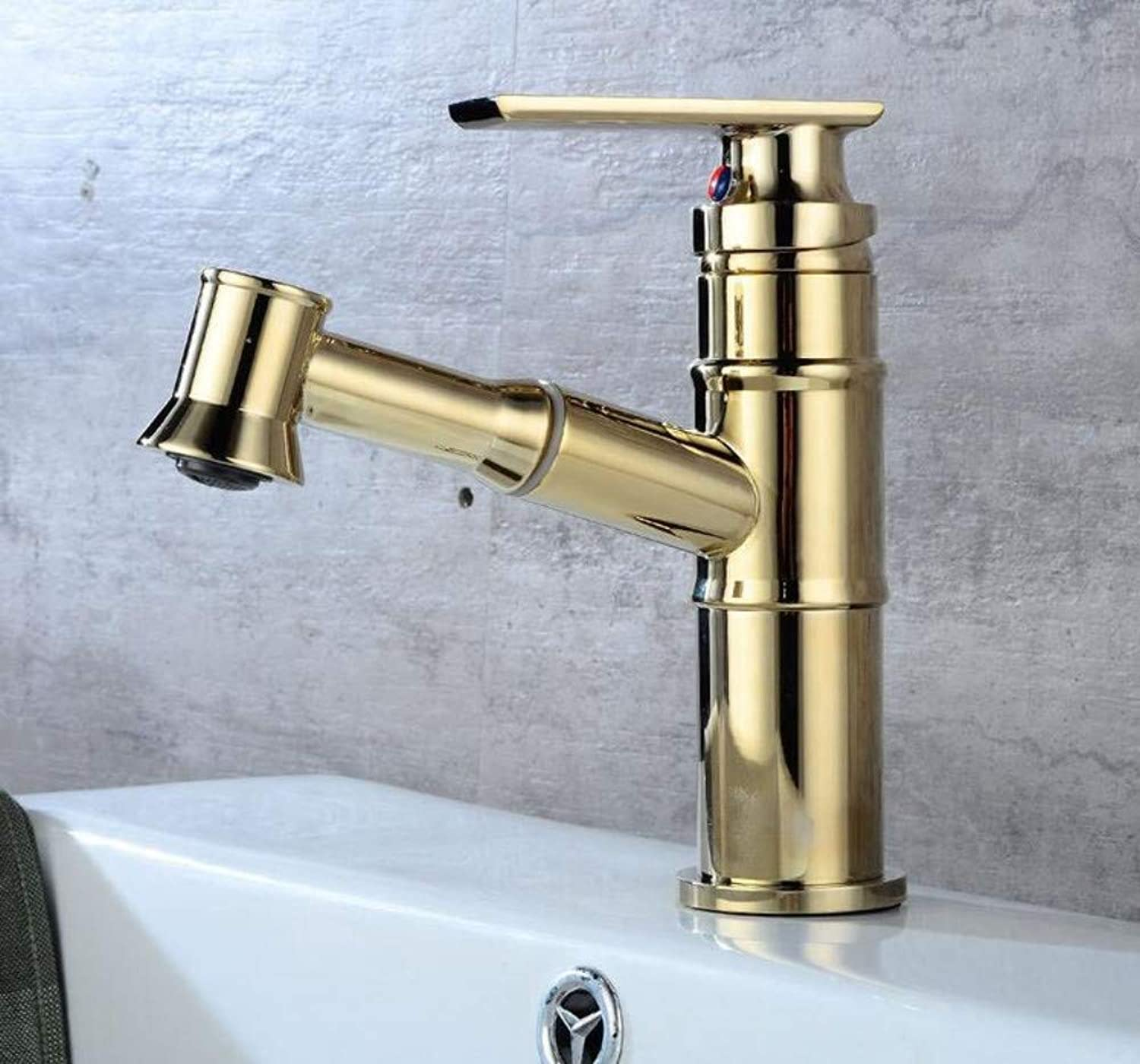 Mixer Basin Taps Pull Down Cold Water Retro Single Hole Single Handle Bathroom Sink Basin Mixer Taps Faucet