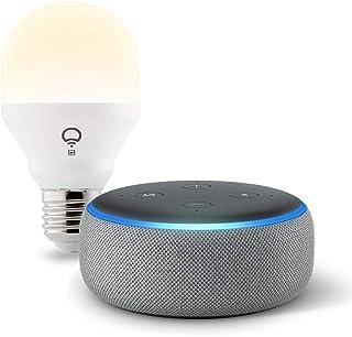 Echo Dot (3rd Gen) Heather Gray bundle with LIFX Wi-Fi Smart Bulb