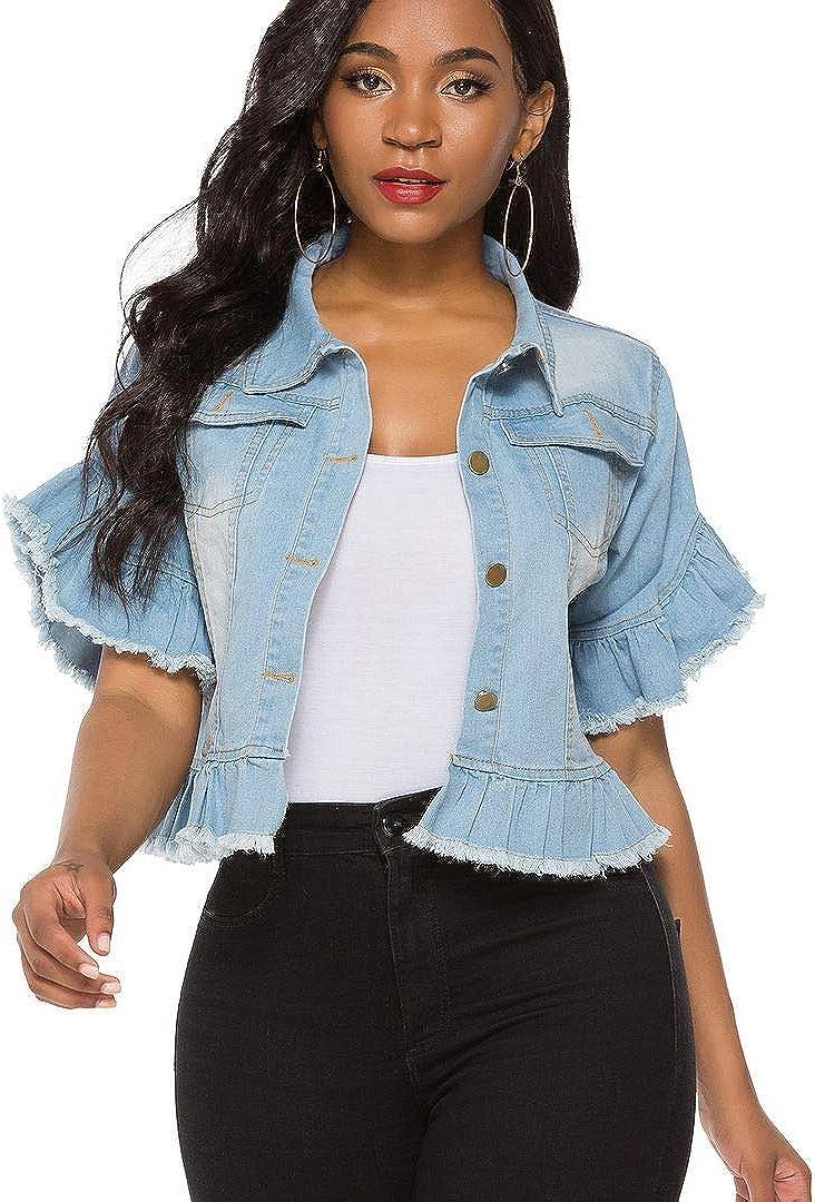Suvimuga Women's Denim Jacket Button Down Distressed Ruffle Sleeve Crop Jean Jackets Coat