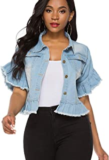 Suvimuga Women's Denim Jacket Button Down Distressed Ruffle Sleeve Crop Jean Jackets Coat