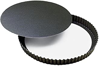 Paderno Non Stick Fluted Round Tart Mould/Quiche Tin/Flan Tin 240mm 25mm Deep Loose Base