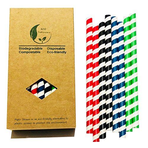 BOFA 10 mm übergroße bunte gestreifte Trinkpapier-Smoothie-Strohhalme, grün/rot/schwarz/dunkelblau, 8 pro Streifen, insgesamt 32 100% biologisch abbaubar kompostierbar Einwegartikel nicht-plastisch.