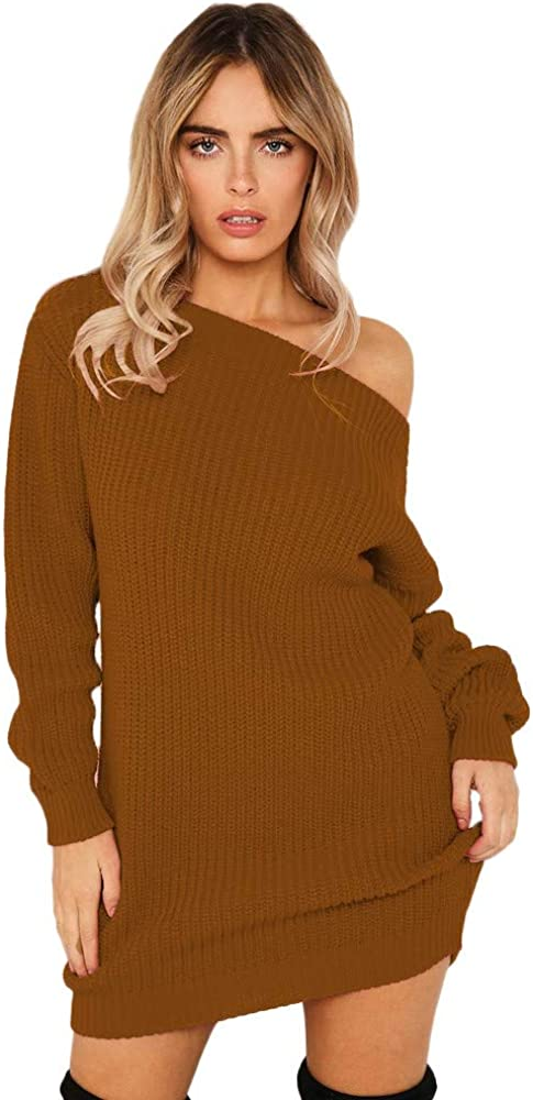 Sweater Dress for Women, Women Lantern Sleeve Jumper Off Shoulder Solid Color Sexy Sweaters Soft Pullover Dresses