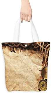 Foldable Shopping Bag Compass rope paper chain on wooden board (W15.75 x L17.71 Inch)
