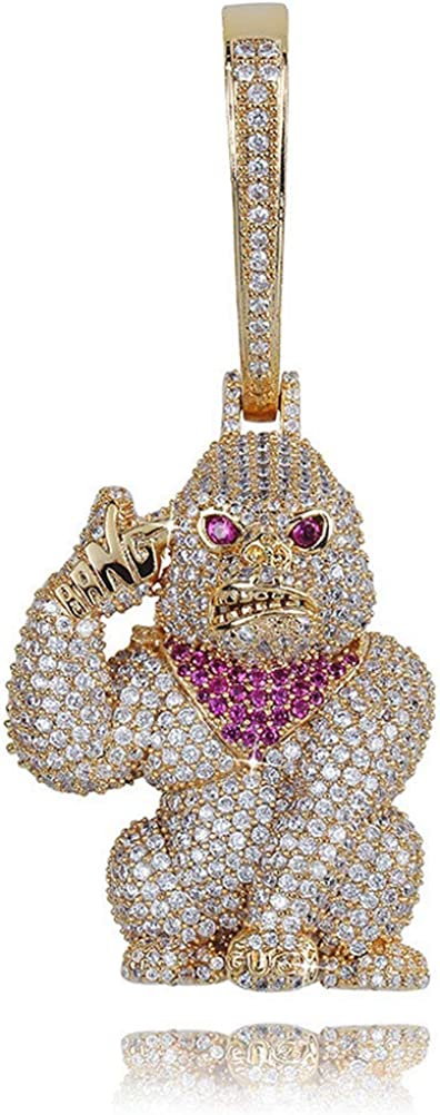 Moca Jewelry Hip Hop Iced Out Ape Big Buckle Pendent 18K Gold Plated Necklace for Men Women