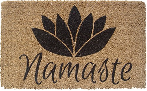 Entryways 1077S Namaste Handmade/Hand-Stenciled/All-Natural Coconut Fiber Coir Doormat, 18' x 30' x .75', Black