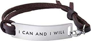 Motivational Gift Inspirational Leather Bracelet Adjustable Bangle Jewellery Stainless Steel