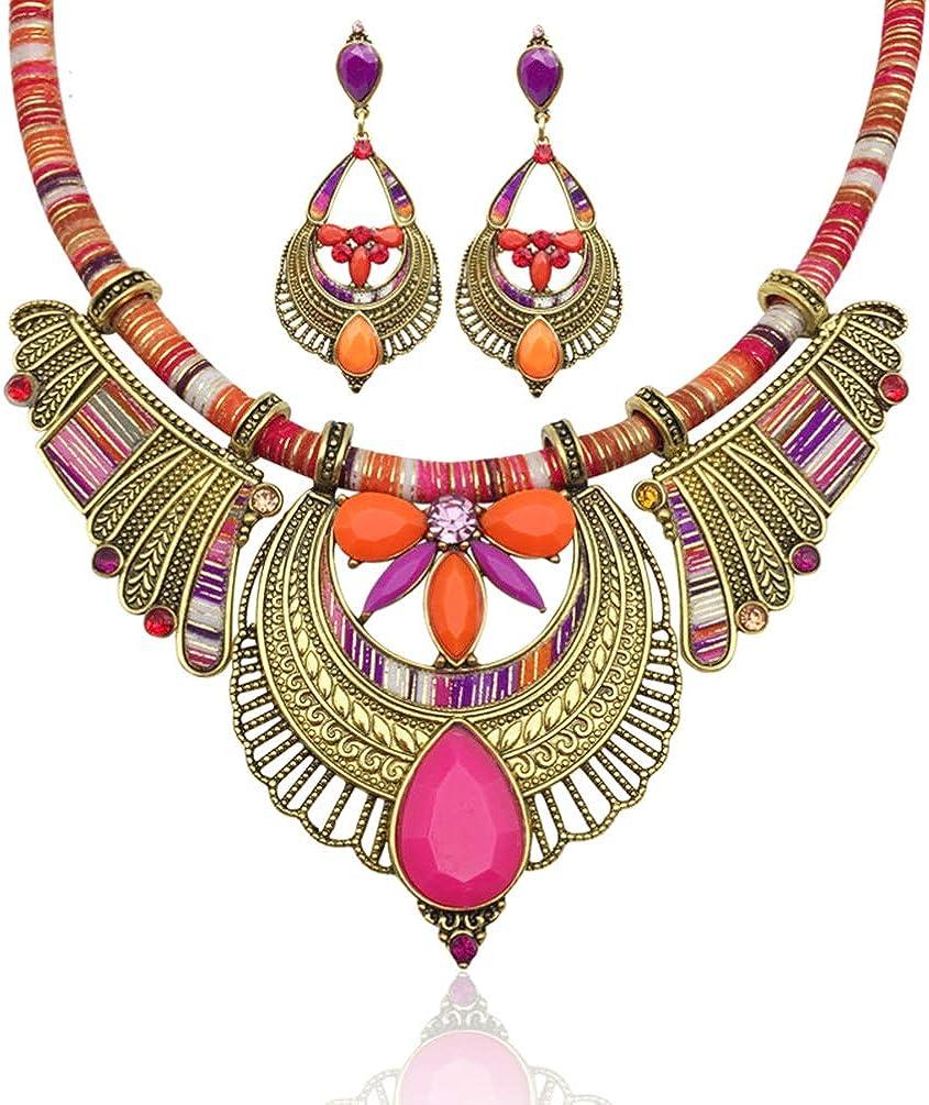 LUOEM Fashion Handmade Ethnic Set Bib Necklace Earrings Multicolor Boho Vintage Statement Jewelry for Women Jewelry (Necklace and Earrings)