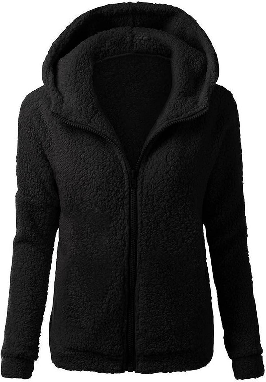 Women Hooded Sherpa Jacket Winter Warm Wool Zipper Coat Sweater Fleece Plush Anti-Pilling Warm Outwear