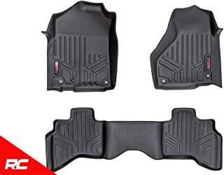 Rough Country Floor Liners (fits) 2012-2018 RAM Truck Quad Cab Full Console 1st 2nd Row Black Rugged Floor Mats M-31212