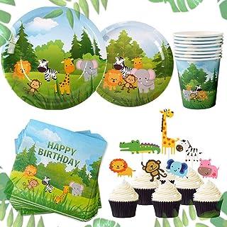 JeVenis Set de 58 Jungle Animals Party Supplies Jungle Party Plates Jungle Theme Birthday Party Supplies Jungle Party Favo...