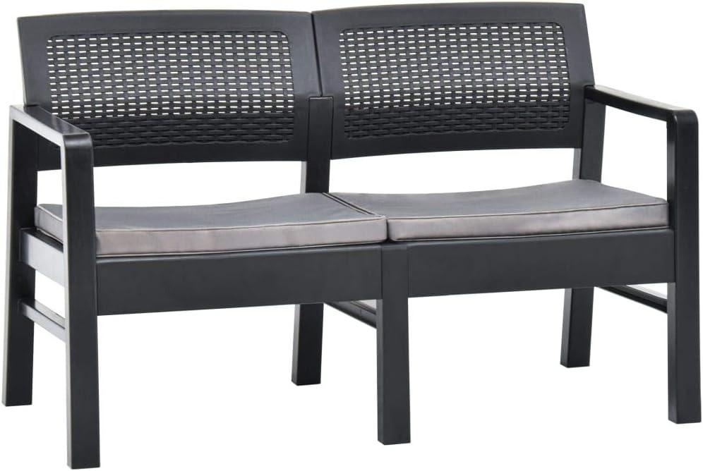 Garden Bench Superlatite Excellent 2 Seater Anthracite Plastic with Outdoor S