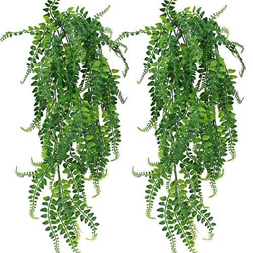 SPTwj 2 Pack Künstliche Pflanzen Gefälschte Kletterpflanzen Farne Pflanze für Wand Indoor Außerhalb Hängenden Korb Dekor