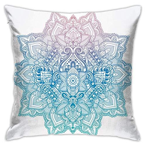 Home Funda de almohada Lotus Bohemian Tattoo Style Zen Pastel Toned Mandala Abstracto Flor de Loto Diseño Lila Azul Pálido Decorativo Cuadrado Acento Funda de Almohada con 45,7 x 45,7 cm