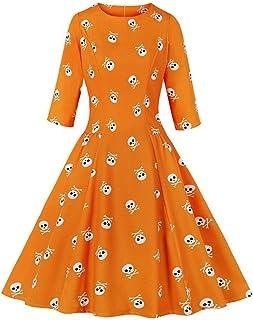 Vestido Estampado de Cremallera con Cuello Redondo de Halloween para Mujer Vestido de Fiesta Hepburn