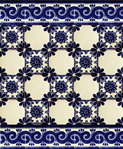 Cerames - Mirta | 30 mexikanische Fliesen 10x10 cm Talavera - Küchenfliesen Dekoration für Badezimmer, Dusche, Treppen, Küchenrückwand, Zementfliesen, marokkanische Designs