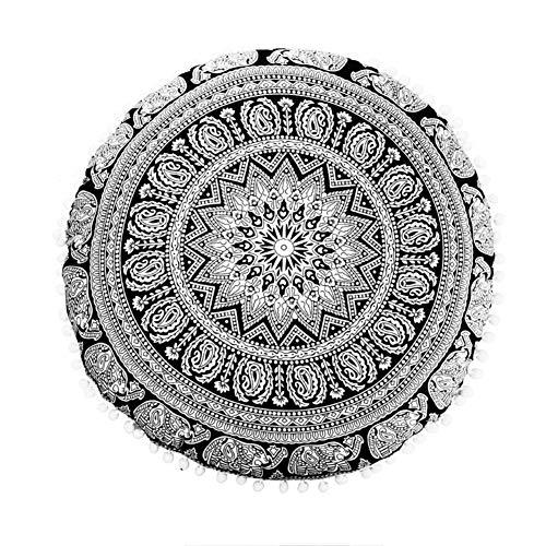 WJX&Likerr Runde Indische Mandala-Muster Sitzkissen, Dick Kissen Home Bodenkissen Futon Sofa dämpfung Stuhlkissen Auto-Kissen Polyester-gewebe-schwarz + weiß 50x50cm(20x20inch)
