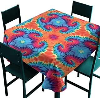 All of better Tie Dye Decor Clamps for Picnic Tables Spiritual Ikat with Hallucinatory Concentric Fractal Weird Creepy Reflection Orange Blue Small Square Tablecloth W 36