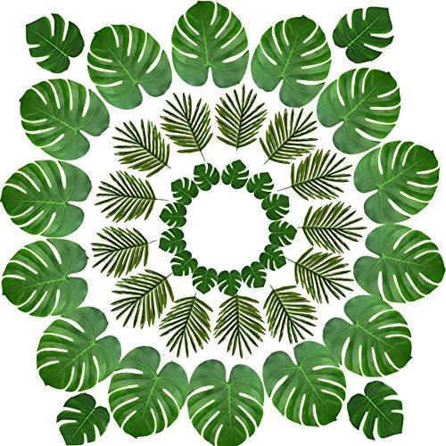 Yuccer 48 Piezas Decoraciones de Fiesta Tropical, Hojas de Palma Monstera Artificial Tropical y Flores Hibiscus para Decoración de Fiesta Hawaiana Luau Selva Temática de Playa