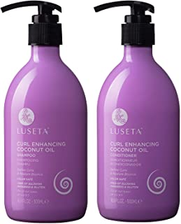 Luseta Curl Enhancing Coconut Oil Shampoo & Conditioner Set,Unlimited Bounce and Definition, Reduce Frizz and Repair Dry H...